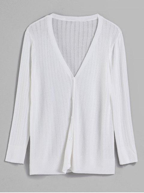 trendy V Neck Button Front Classic Cardigan - WHITE ONE SIZE Mobile
