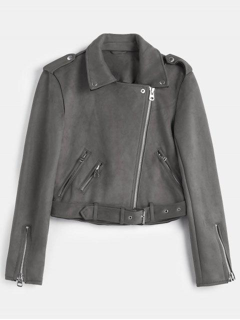 chic Belted Zipped Faux Suede Biker Jacket - SLATE GRAY L Mobile