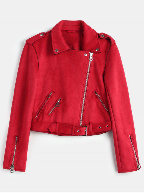 womens Belted Zipped Faux Suede Biker Jacket - RED L Mobile