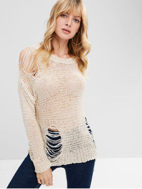 fancy Open Stitch Ripped Sweater - BEIGE ONE SIZE Mobile