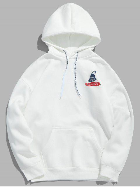 hot Shark Letter Print Graphic Fleece Hoodie - MILK WHITE L Mobile