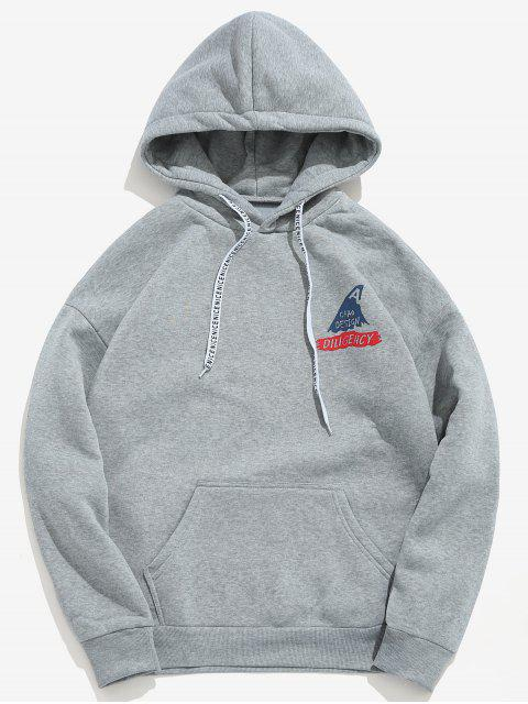 outfit Shark Letter Print Graphic Fleece Hoodie - GRAY CLOUD S Mobile