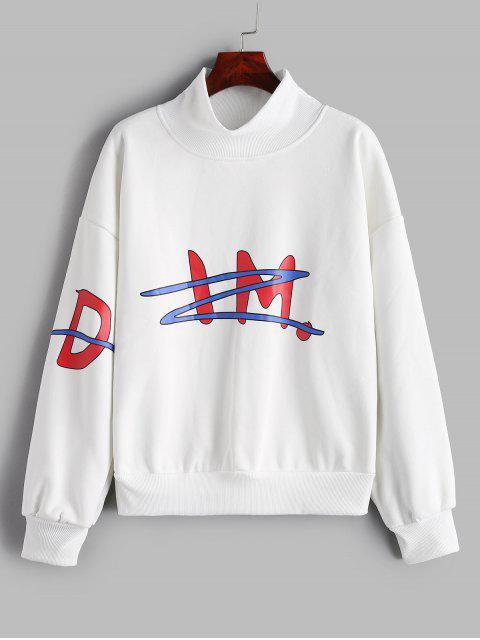 latest Mock Neck Printed Oversized Sweatshirt - WHITE XL Mobile