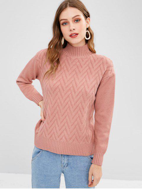 unique Chevron Mock Neck Pullover Sweater - WATERMELON PINK ONE SIZE Mobile