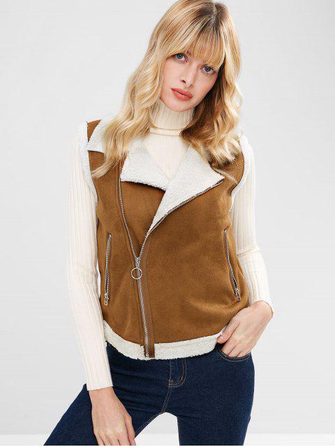 buy Zip Up Sheepskin Waistcoat - DARK GOLDENROD L Mobile