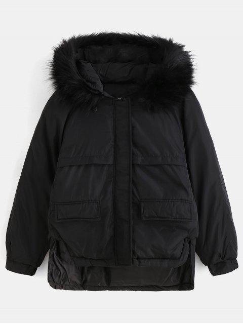 affordable Faux Fur Hood Quilted Short Winter Coat - BLACK M Mobile