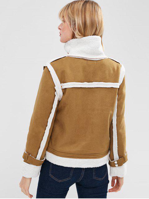 Veste en Peau de Mouton Zippée - Verge d'Or Foncé  S Mobile
