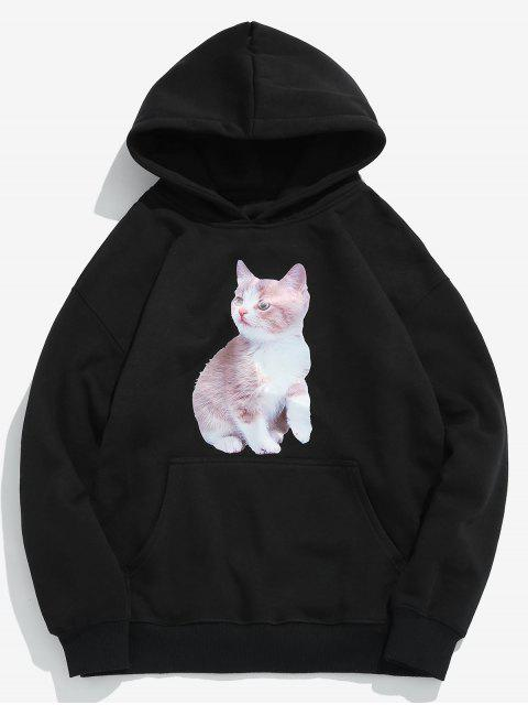 lady Creative Cat Printed Fleece Pullover Hoodie - BLACK XL Mobile