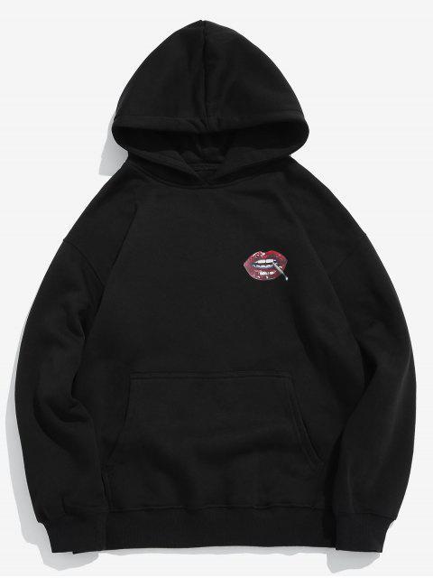 online Red Lip Printed Fleece Pullover Hoodie - BLACK M Mobile