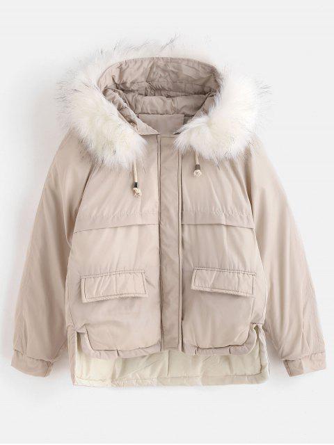 Abrigo de invierno corto acolchado capucha de piel sintética - Beige L Mobile