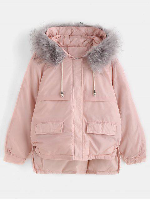 lady Faux Fur Hood Quilted Short Winter Coat - PINK XL Mobile