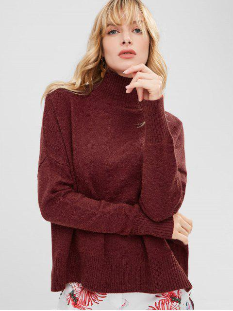 new Funnel Collar Drop Shoulder Oversized Sweater - RED WINE ONE SIZE Mobile