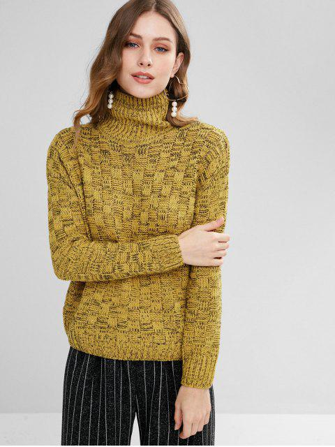 outfits Mixed Yarn Basketweave Sweater - MUSTARD ONE SIZE Mobile
