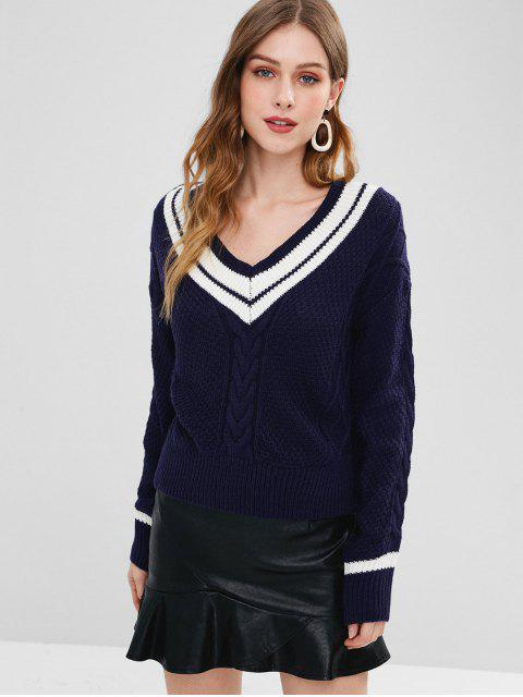 shops Striped Cable Knit V Neck Jumper - DEEP BLUE ONE SIZE Mobile