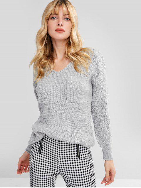 buy V Neck Lace Up Back Pullover Sweater - GRAY ONE SIZE Mobile