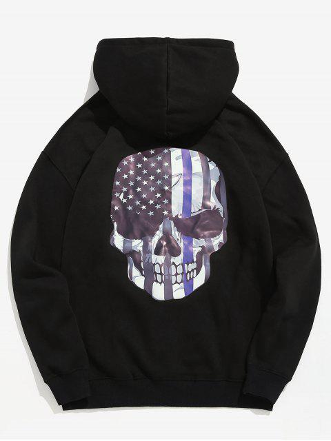 affordable Amercian Flag Skull Printed Pullover Hoodie - BLACK 2XL Mobile