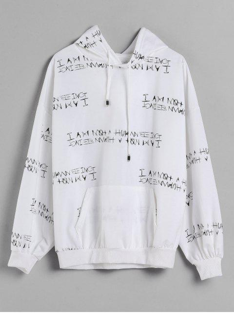 best Letter Print Oversized Drop Shoulder Hoodie - WHITE XL Mobile