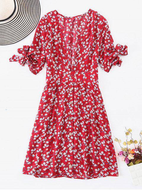ZAFUL Robe Florale Boutonnée à Pois - Multi L Mobile