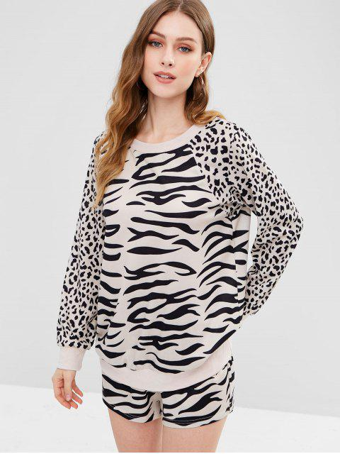 new ZAFUL Leopard Sweatshirt and Shorts Set - LEOPARD L Mobile