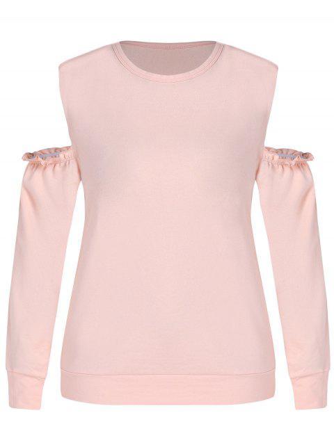 women ZAFUL Plus Size Open Shoulder Sweatshirt - ORANGE PINK 1X Mobile