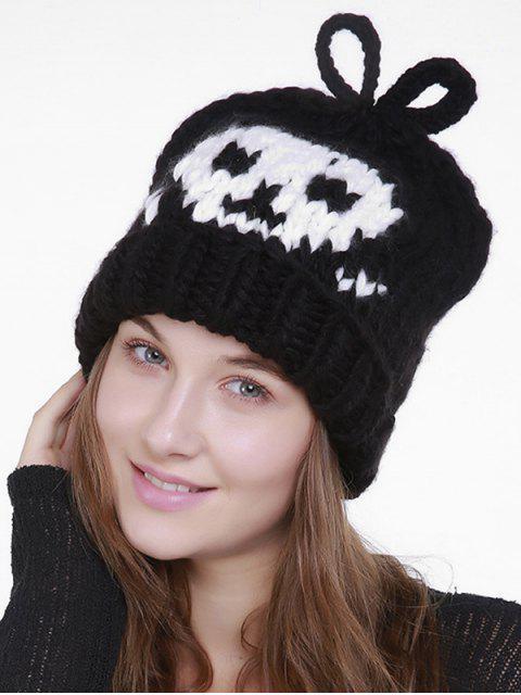 Skull Pattern Crochet Gestrickte Slouchy Beanie - Schwarz  Mobile