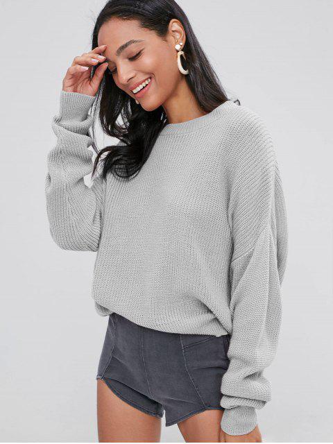 fashion ZAFUL Chunky Knit Loose Sweater - LIGHT GRAY ONE SIZE Mobile
