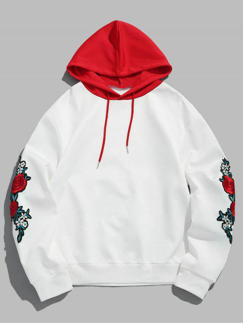 Zaful Flower Embroidery Applique Sleeve Drawstring Hoodie   Love Red M by Zaful