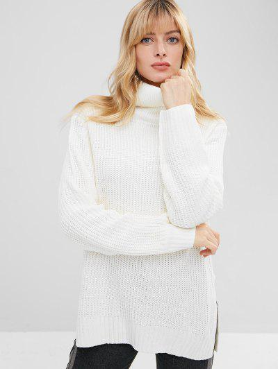 High Low Side Slit Turtleneck Sweater - White