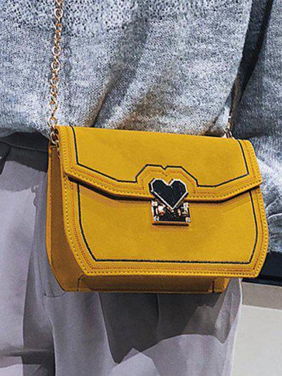 PU Leather Metal Heart Crossbody Bag - Bee Yellow