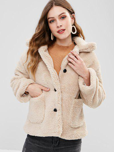 Patch Pockets Fluffy Winter Coat - Camel Brown S
