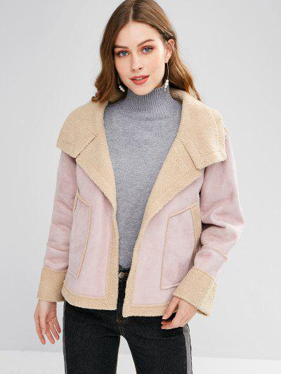 Open Front Shearling Faux Suede Jacket - Light Pink