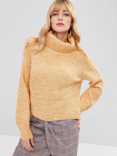 Turtleneck Heathered Pullover Sweater - Yellow