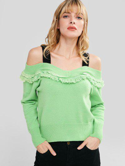 Cold Shoulder Tassels Sweater - Apple Green L