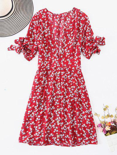 ZAFUL Button Up Knotted Vestido Floral - Multi S
