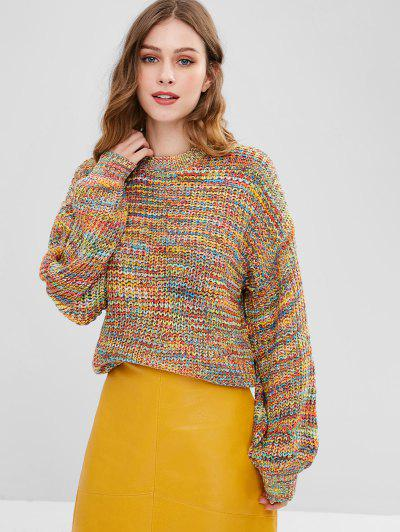 Lantern Sleeve Multicolored Chunky Sweater - Multi