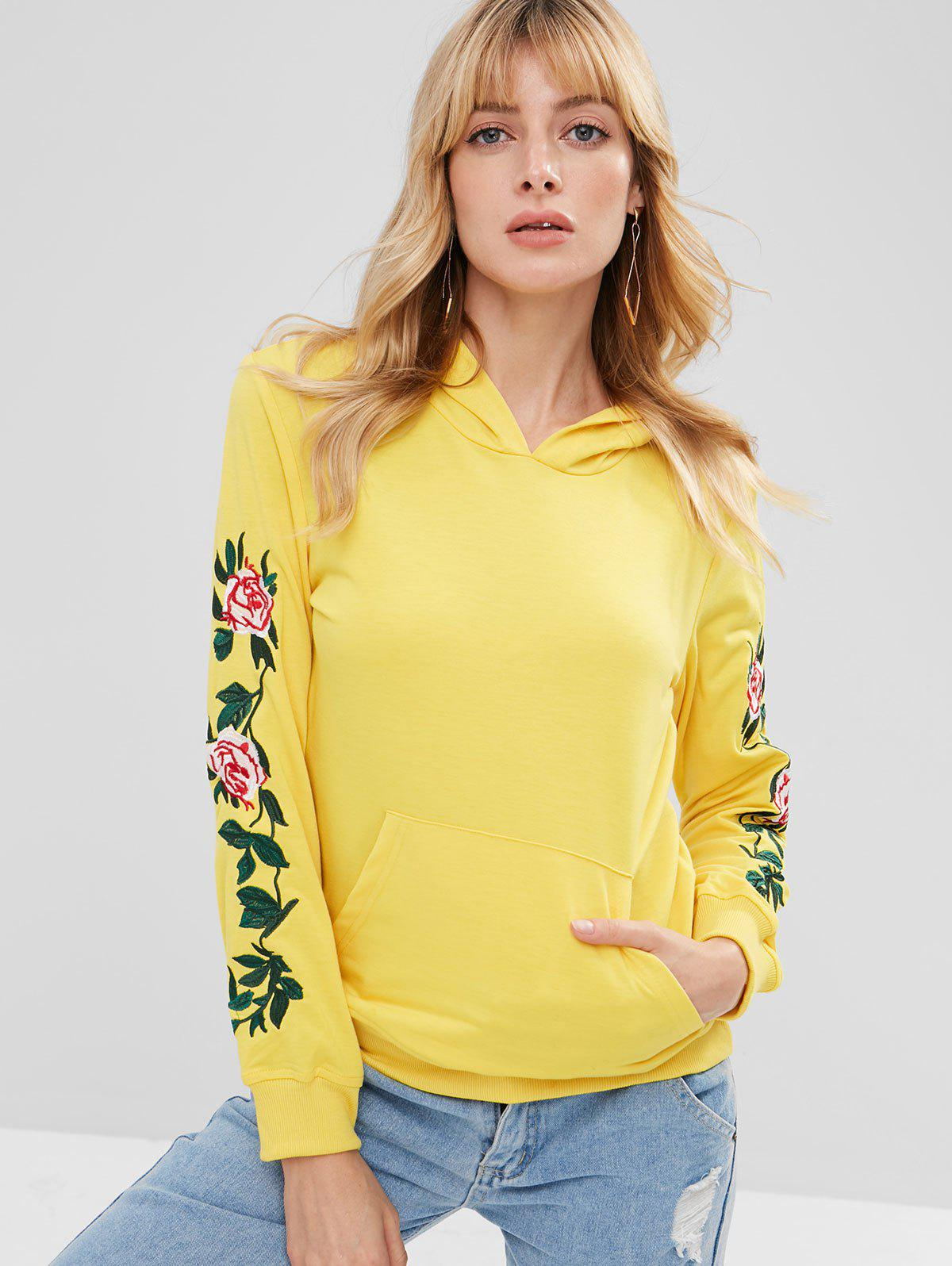 Front Pocket Floral Embroidered Hoodie