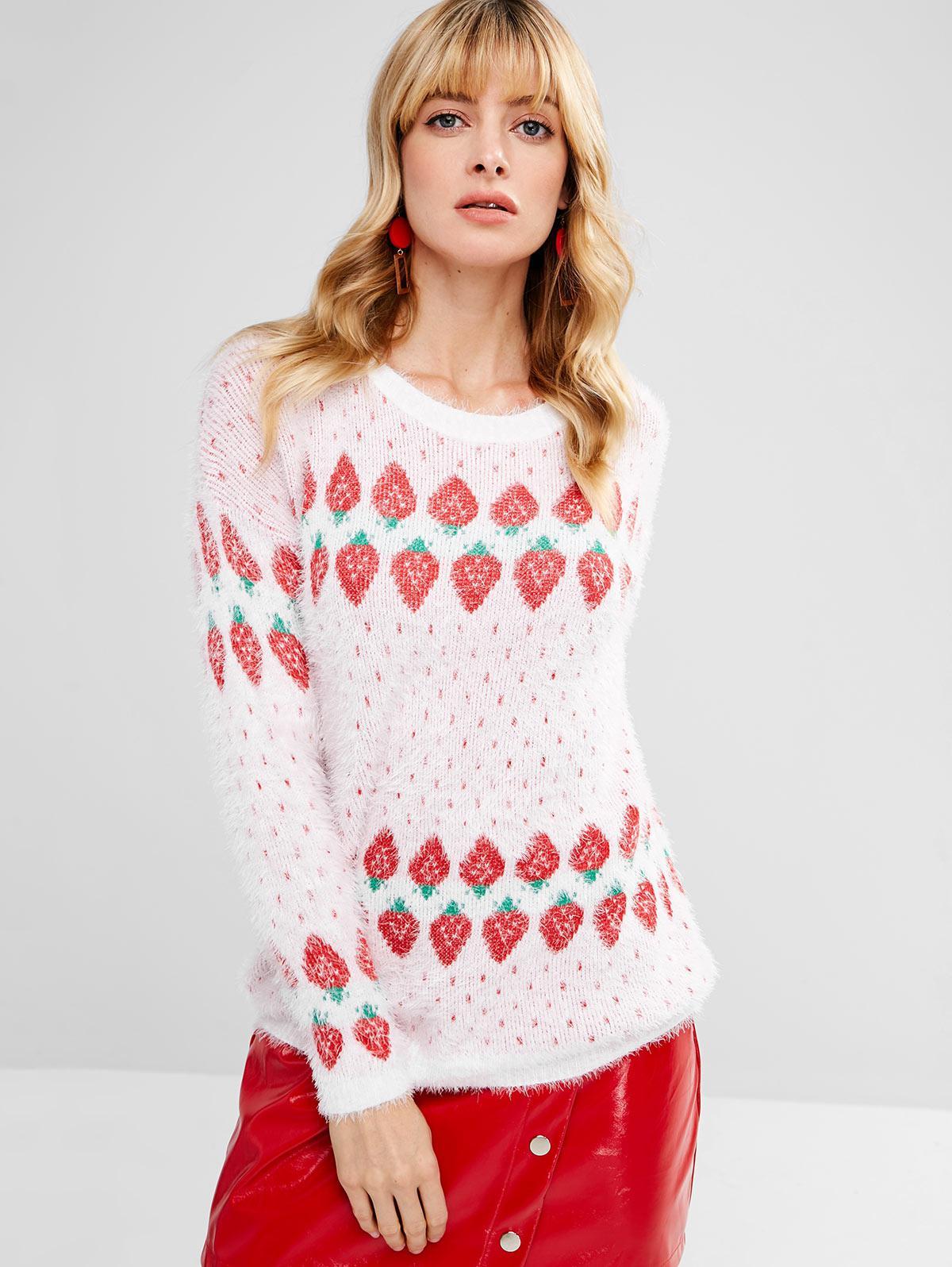 Strawberry Jacquard Fluffy Sweater