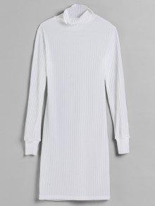فستان محبوك محبوك - أبيض M