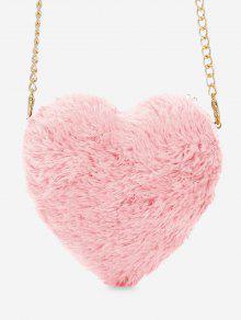 حقيبة كروس على شكل قلب من الفرو الصناعي - وردي فاتح