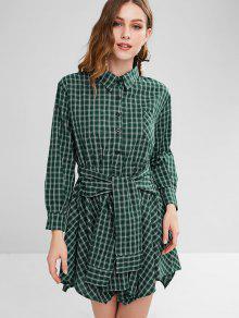 منقوشة الخصر التعادل قميص اللباس - ازرق مخضر