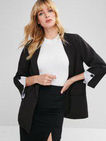 Back Slit Casual Tunic Blazer - أسود S