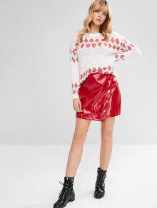 2ea35bc91 2019 ZAFUL Buttons Embellished Christmas Faux Leather Skirt In RED ...