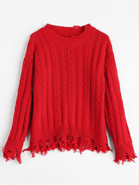 47 Off 2018 Ripped Fringed Cable Knit Sweater In Red One Size Zaful