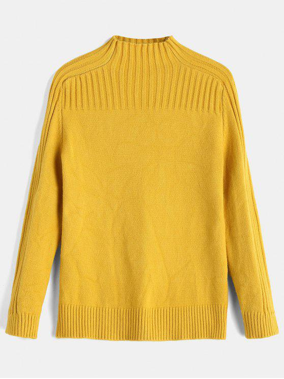 buy Ribbed Yoke Funnel Collar Sweater - YELLOW ONE SIZE