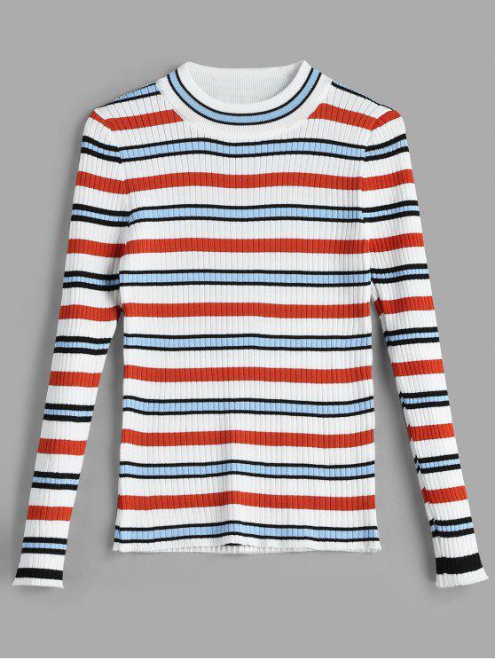 Camisola com nervuras listrada colorida - Multi Um Tamanho
