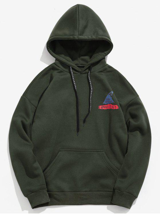 hot Shark Letter Print Graphic Fleece Hoodie - ARMY GREEN L