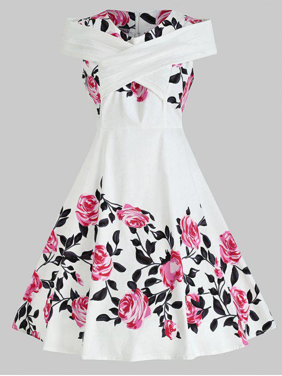 Criss Cross Plus Size Floral Retro Pin Up Dress WHITE
