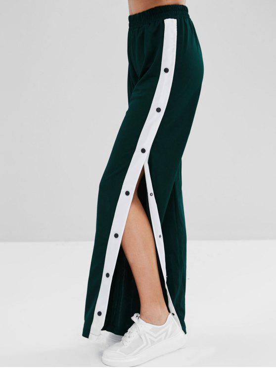 shops Snap Button Wide Leg Pants - DARK FOREST GREEN XL