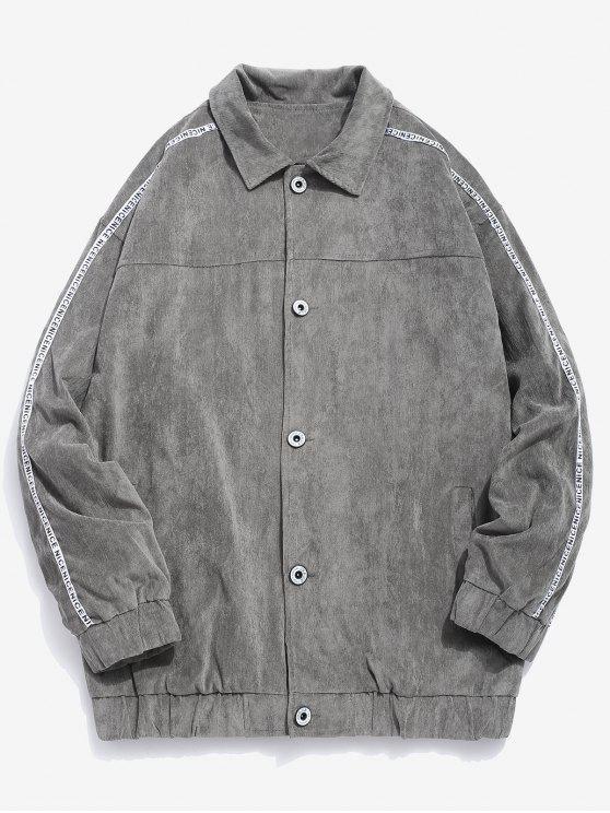 fancy Side Striped Button Corduroy Jacket - GRAY XL