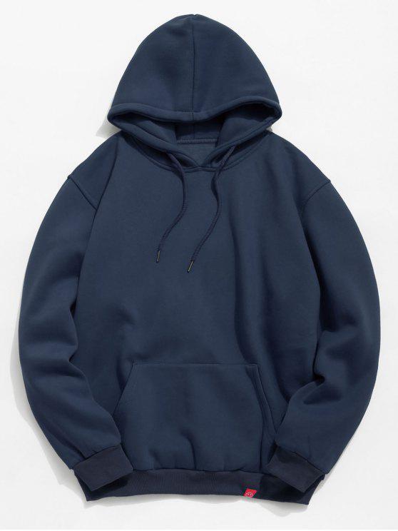 Sweat à capuche en laine polaire à poche solide - Cadetblue 2XL